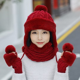 Sweet Warmth Windproof Winter Knitting 3-Piece Set(Including Hat, Scarf and Gloves)