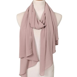 Women Pure Color Soft Long Wrap Chiffon Scarf