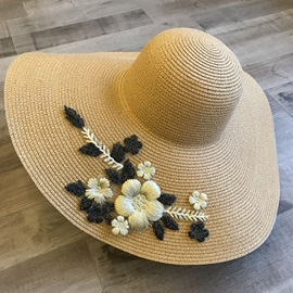 3D Straw Hat Straw Plaited Article Floral Hats