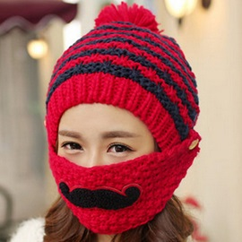 Beard Design Knitted Hat with Mask