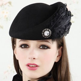 Charming Feather Decorated Wool Beret Hat