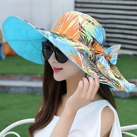 Wide Brim Plants Printed Two-Sided Sun Hat