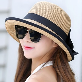 Roll Brim Design Exquisite Bowknot Decorated Straw Hat