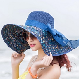 Bowknot Embellished Wide Brim Graceful Sun Hat