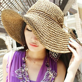 Plain Foldable Simple Straw Beach Hat