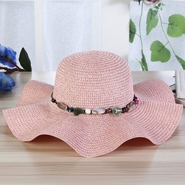 Natural Stone Decoarated Handmade Beach Straw Hat