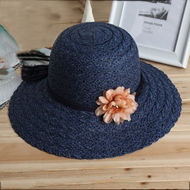 Outdoors Sunscreen Dry Flower Decorated Beach Straw Hat