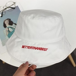 Letter Embroidery Canvas Flat Brim Bucket Hat