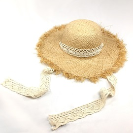 Wide Brim Lace-Up Straw Plaited Article Beach Hat