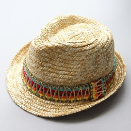 Bohemian Style Colored Strap Decorated Beach Jazz Hat