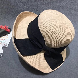 Bow-Knot Embellished Rolled Brim Straw Sun Hat