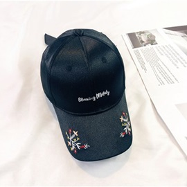 Colored Floral Embroidery Polishing Student Baseball Cap