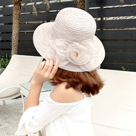 Sweet Organza Floral Decorated Elegant Lady Bucket Hat