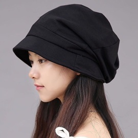 Pure Color Cotton Dome Pleated Warmth Hat