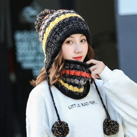 Color Patchwork Knitted Warmth Fall Winter Hat