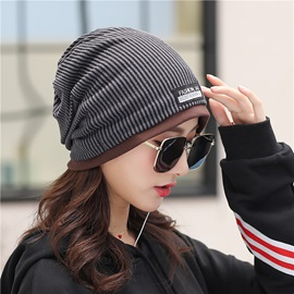 Stripe Pattern Color Block Cotton Skullies & Beanie