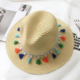 Colored Tassel Decorated Straw Plaited Article Sun Hat