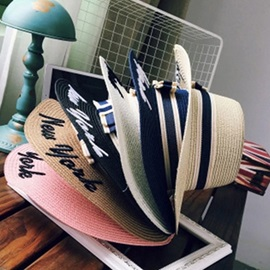 Letter Decorated Straw Plaited Article Summer Sun Hat