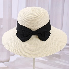 Folding Bow-Knot Embellished Straw Sun Hat