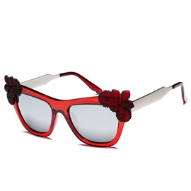 Anti Uv Sunglasses with Flower Adornment