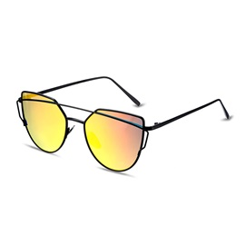Twin-Beams Metal Frame Ellipse Women's Sunglasses