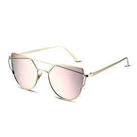 Metal Frame Pink Flat Lenses Fashion Women