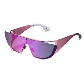 Metal Frame Purple Lens Women's Polarized Sunglasses