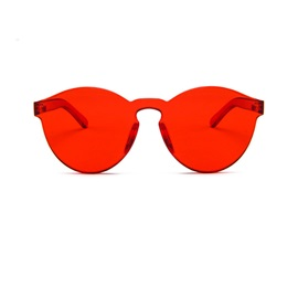 Orange-Tinted Jelly Candy Color Rimless Sunglasses