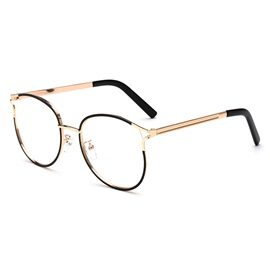 Student Oval Shape Metal Plain Glass Spectacles