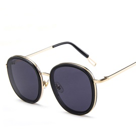 Resin Lens Metal Frame Oval Sunglasses