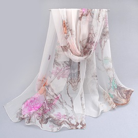 Graceful Floral Printed Chiffon Summer Shawl/Scarf