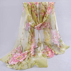 Pure Chiffon Flower Printed Square Scarf