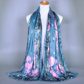 Soft Snake-skin Pattern Printed Silk-like Scarf
