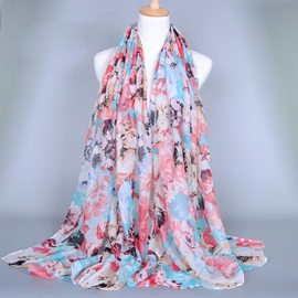 Fashion Floral Printed Voile Women's Scarf