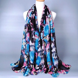 Big Flower Printed Voile Scarf