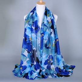 Big Flower Printed Voile Scarf for Women