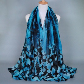 Leaves Printed Voile Women's Scarf