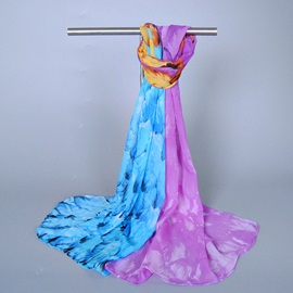 Colorful Feather Printed Scarf