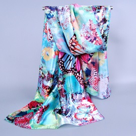 Colorful Butterfly Printed Silk-like Scarf