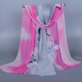 Double Color Morning Glory Printing Scarf