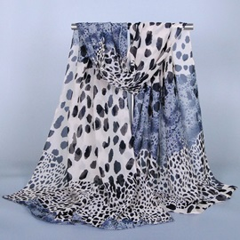 Leopard Printed Chiffon Scarf for Women