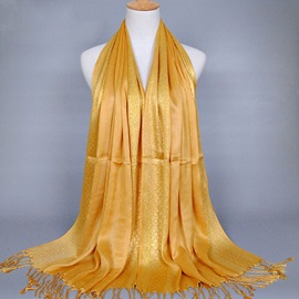 Gold Thread Tassel Scarf for Women