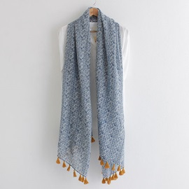 Ethnic Style Printed Cotton Scarf with Tassels