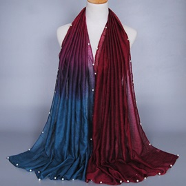 Pearls Decorated Gradient Color Voile Scarf