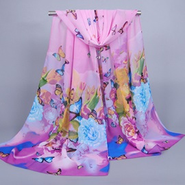 Butterfly & Flowers Printed Chiffon Scarf