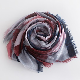 Geometric Printed Cotton Fringed Scarf