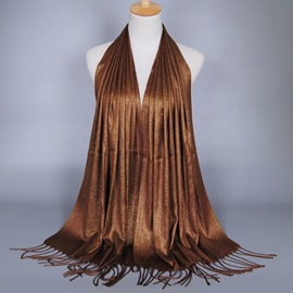 Pure Color Gold Thread Tassel Scarf