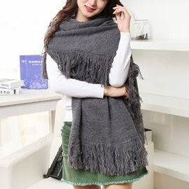 Warm Pure Color Knitted Shawl
