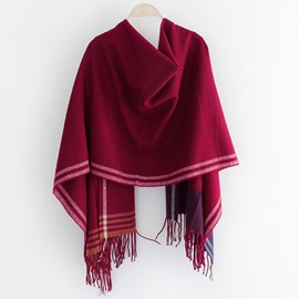 All-Matched Winter Stripe Tassels Scarf
