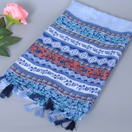 Flowers Stripe Design Fringed Scarf